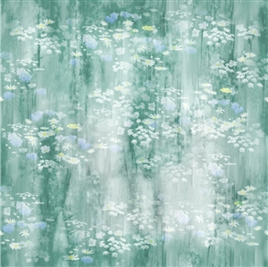 Wildflowers digital print fabric in green and blue