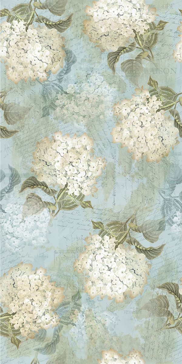 Hydrangea digital print fabric in blue tones