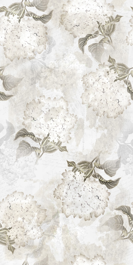 Hydrangea digital print fabric in neutral tones