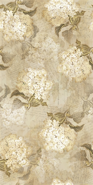 Hydrangea digital print fabric in cream tones