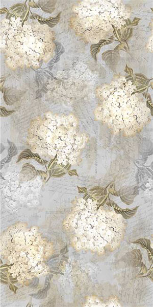 Hydrangea digital print fabric in gray tones