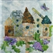 Quilt block of birdhouses perched on a wisteria stand with a butterfly