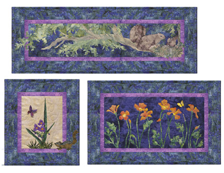 Squirrels, California Poppy, and Spiderwort.