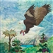 fabric panel with eagle in flight carrying his dinner, a fish, in his talons