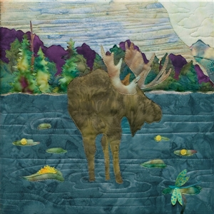 fabric panel with a moose munching his snack while wading in a lake or pond