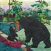 fabric panel with a mama bear sharing her dinner catch of salmon with her cub who is sitting in their canoe