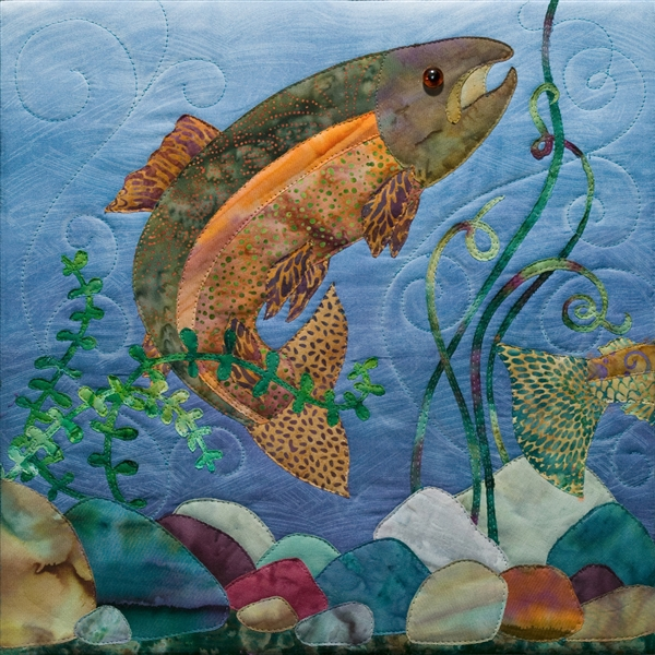 fabric panel featuring a fish in water