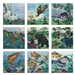 set of nine Out & About art print panels