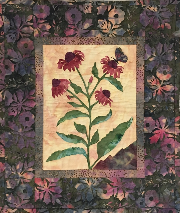Purple Coneflower - Finished Quilt Block - SOLD!