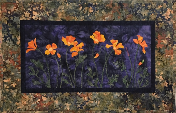 California Poppies - Finished Quilt Block