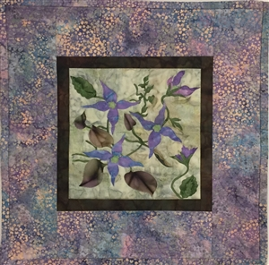 Blue Clematis - Finished Quilt Block