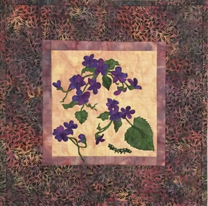 Early Blue Violets - Finished Quilt Block