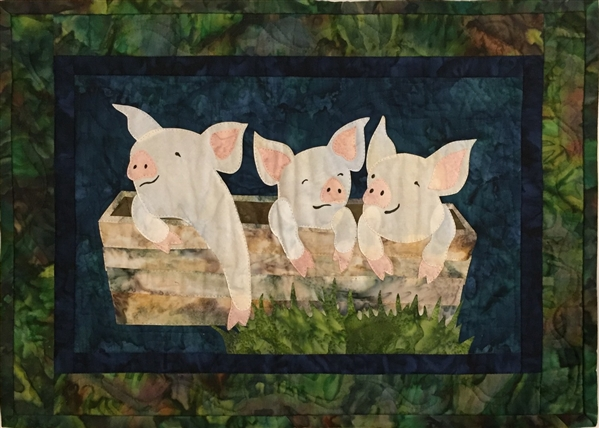 Pork It Over - Finished Quilt Block - SOLD!