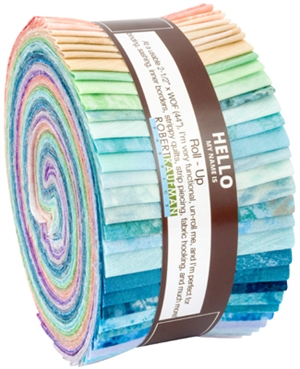 Complete selection of Sand In My Shoes fabric strips in a roll up.