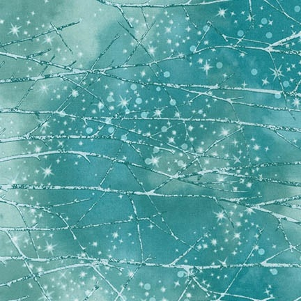 Snowy forest screen print with snowfall lacquer in medium blue and pale aqua.
