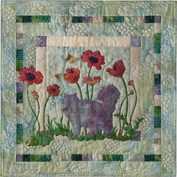 Paws in the Poppies and Complete Quilt Instructions - SOLD OUT! Will not be restocked