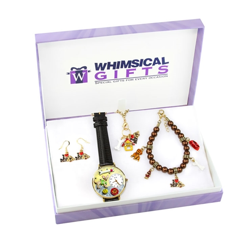Whimsical Gifts Dog Lover Gold 4-piece Watch-Bracelet-Necklace-Earrings Jewelry Set