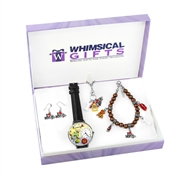 Whimsical Gifts Dog Lover Silver 4-piece Watch-Bracelet-Necklace-Earrings Jewelry Set