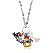 Dog Lover Charm Necklace in Silver