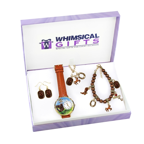 Whimsical Gifts Horse Lover Gold 4-piece Watch-Bracelet-Necklace-Earrings Jewelry Set
