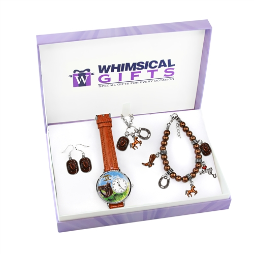 Whimsical Gifts Horse Lover Silver 4-piece Watch-Bracelet-Necklace-Earrings Jewelry Set