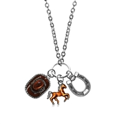 Horse Lover Charm Necklace in Silver