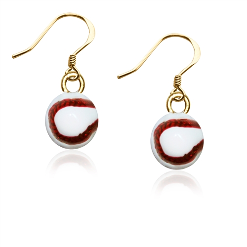 Baseball Charm Earrings in Gold