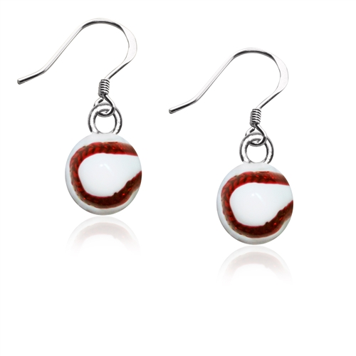 Baseball Charm Earrings in Silver
