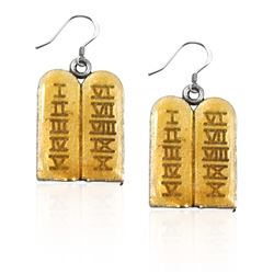 Ten Commandments Charm Earrings in Silver
