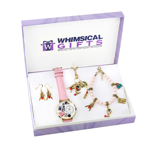 Whimsical Gifts Teen Girl Gold 4-piece Watch-Bracelet-Necklace-Earrings Jewelry Set