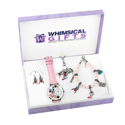 Whimsical Gifts Teen Girl Silver 4-piece Watch-Bracelet-Necklace-Earrings Jewelry Set
