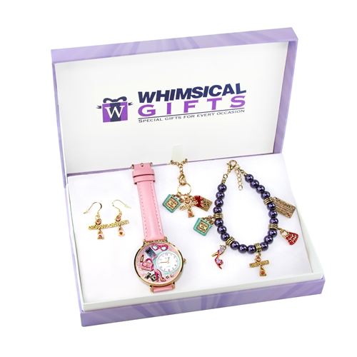Whimsical Gifts Shopper Mom Gold 4-piece Watch-Bracelet-Necklace-Earrings Jewelry Set