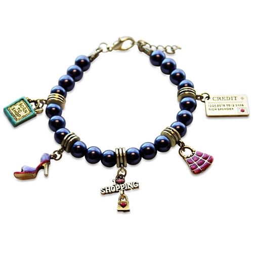 Shopper Mom Charm Bracelet in Gold