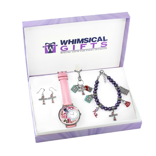 Whimsical Gifts Shopper Mom Silver 4-piece Watch-Bracelet-Necklace-Earrings Jewelry Set