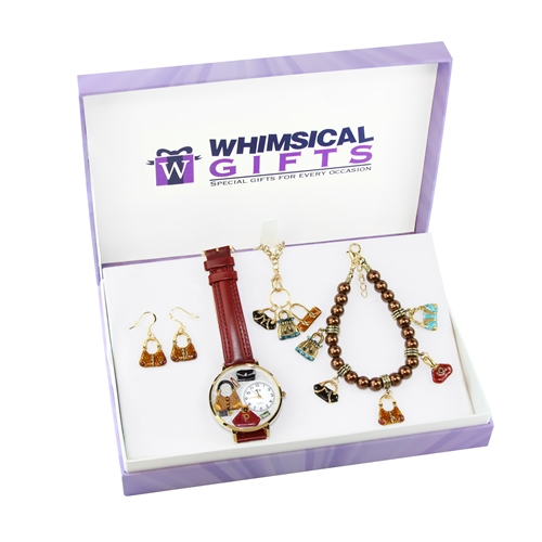 Whimsical Gifts Purse Lover Gold 4-piece Watch-Bracelet-Necklace-Earrings Jewelry Set