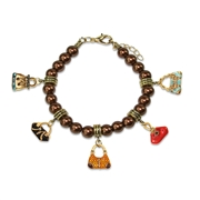 Purse Lover Charm Bracelet in Gold