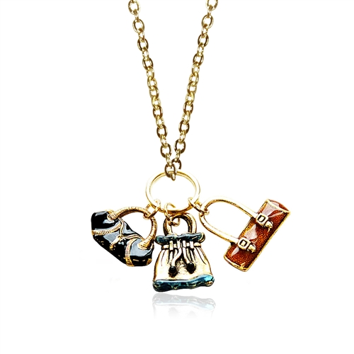 Purse Lover Charm Necklace in Gold