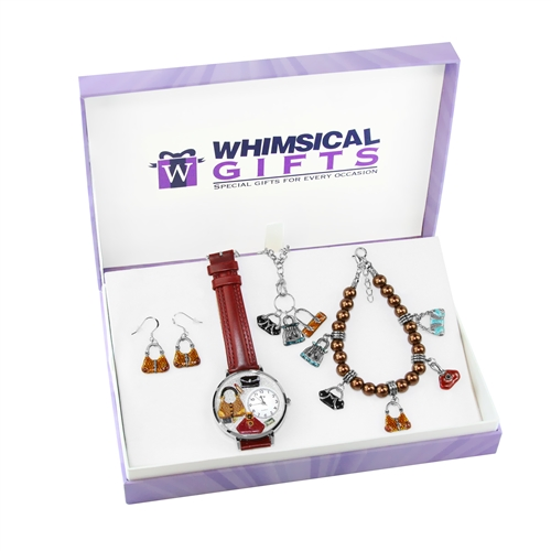 Whimsical Gifts Purse Lover Silver 4-piece Watch-Bracelet-Necklace-Earrings Jewelry Set