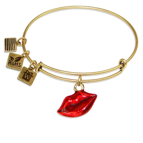 Lips Charm Bangle in Gold