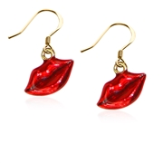 Lips Charm Earrings in Gold