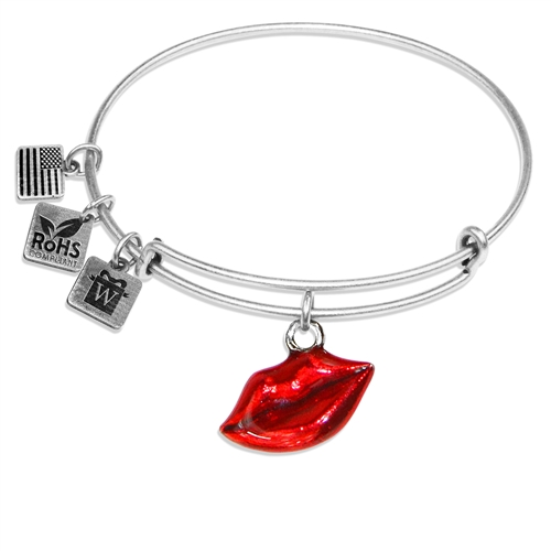 Lips Charm Bangle in Silver