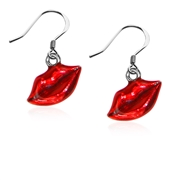 Lips Charm Earrings in Silver