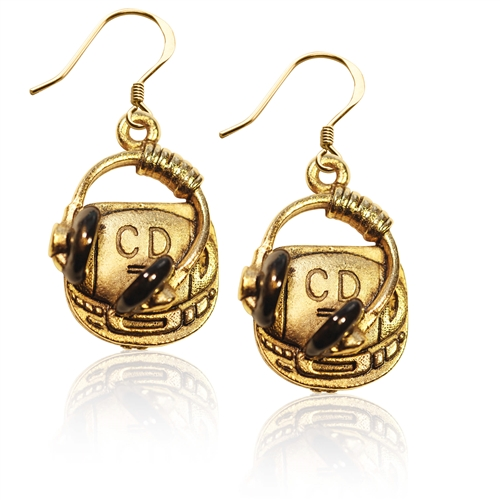 CD Player and Headphone Charm Earrings in Gold