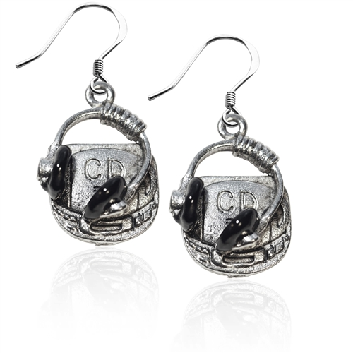 CD Player and Headphone Charm Earrings in Silver