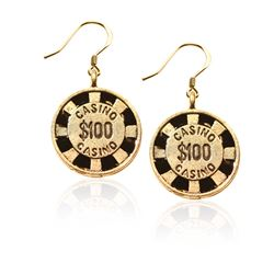 Casino Chip Charm Earrings in Gold