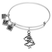 Skeleton Charm Bangle in Silver