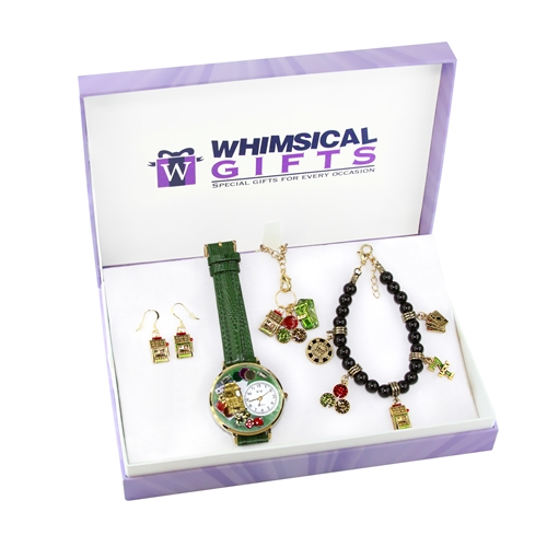 Whimsical Gifts Casino Gold 4-piece Watch-Bracelet-Necklace-Earrings Jewelry Set