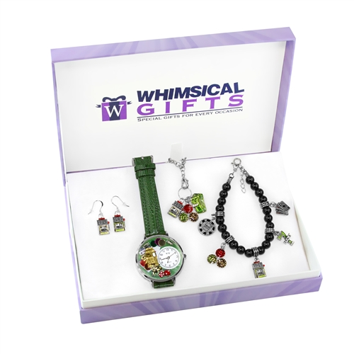 Whimsical Gifts Casino Silver 4-piece Watch-Bracelet-Necklace-Earrings Jewelry Set