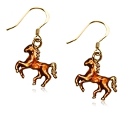 Horse Charm Earrings in Gold
