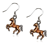 Horse Charm Earrings in Silver
